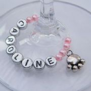 Dog Paw Personalised Wine Glass Charm